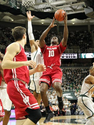 UW's Nigel Hayes made just 9 of 20 shots in the lane against Michigan State, and made only 1 of 6 free throws after being fouled in the paint.