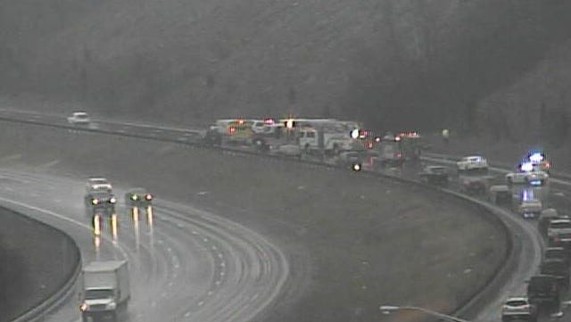 Emergency officials closed eastbound Interstate 275 in Colerain Township near interstate 74 for a multi-vehicle crash Saturday afternoon.