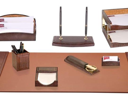 Dacasso Crocodile Embossed Leather 10-piece Desk Set.