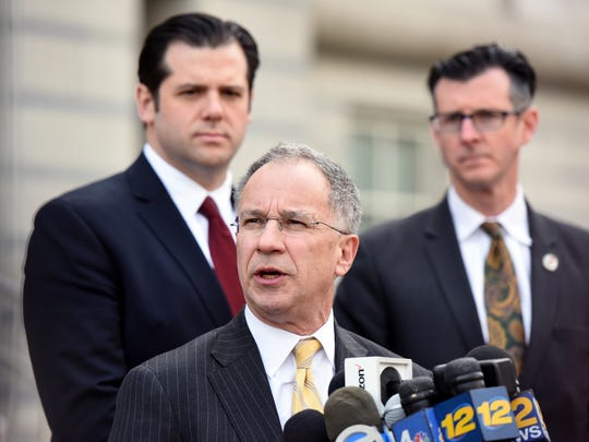 U.S. Attorney Paul Fishman speaks with the media outside of federal court in Newark after Samson's sentencing.