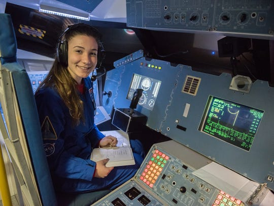 Katarina Vucenovic of Lincoln Park and a student of Boonton High School's Gateway Academy, at the space center at Huntsville, Ala., last month.