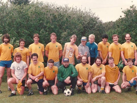 Lance McCoy, bottom row with beard and glasses, and his old Chuggers soccer team.