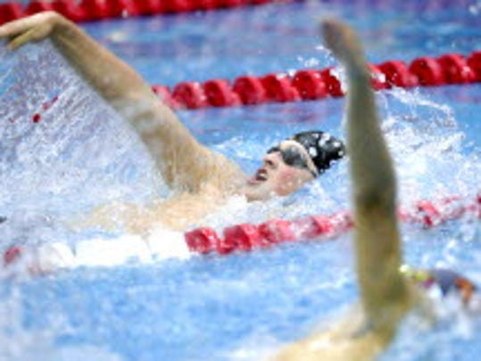 Dallastown's Trevor Hine swims the 100 backstroke at the 2013 district championships.