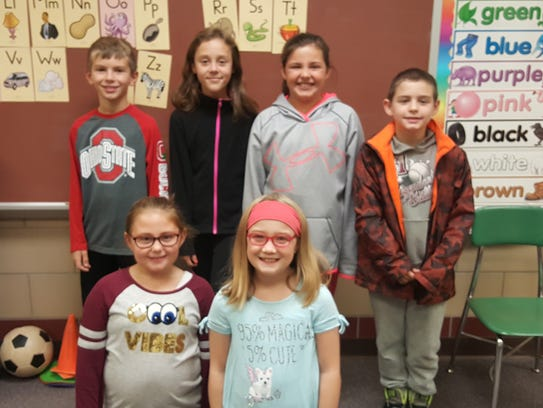 Third grade students who were honored are, front row