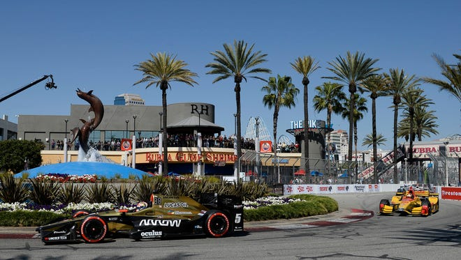 James Hinchcliffe leads Ryan Hunter-Reay during the Toyota Grand Prix of Long Beach at Streets of Long Beach.