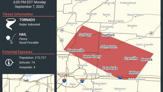 The National Weather Service issued a tornado warning for parts of central Ohio on Monday evening. Image courtesy of the NWS.