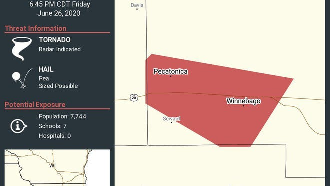 The National Weather Service issued a tornado warning for Winnebago County until 6:45 p.m. Friday, June 26, 2020.