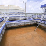 Cloudy, murky water sits in a compartment, at the Ugum Water Treatment Plant in Talofofo, waiting for the next step in the filtration process on Wednesday, Aug. 19, 2015.