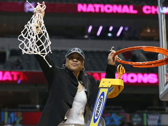 South Carolina Gamecocks head coach Dawn Staley celebrates