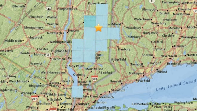 ZIP codes, in blue, where the U.S. Geological Survey received reports about the Monday, April 10, magnitude 1.3 earthquake centered in Pawling, shown by the star.  The USGS received more than 20 reports about the earthquake.