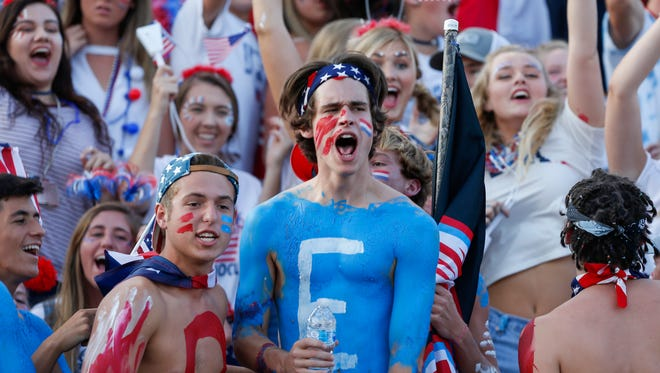Glendale fans get hyped up before their game versus Lebanon at Glendale High School on Friday, Sept. 8, 2017.