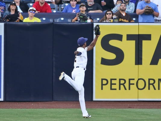 San Diego Padres left fielder Melvin Upton Jr. makes a running catch to rob Pittsburgh Pirates' Francisco Cervelli of an extra-base hit in the second inning of a baseball game Thursday, April 21, 2016, in San Diego. (AP Photo/Lenny Ignelzi)