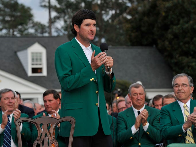 Bubba Watson addresses the crowd while wearing the green jacket after winning the Masters.