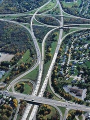 The tangled interchange of Route 390, Interstate 390, Interstate 490 and Lyell Avenue.