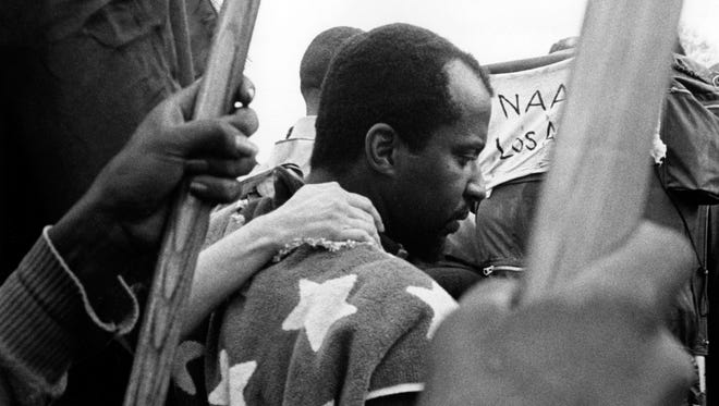 A scene from the third civil rights march in Selma AL.   March 25, 1965