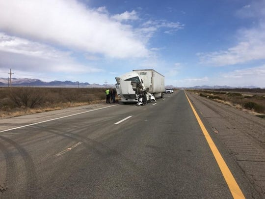 A multiple-vehicle crash in eastern Arizona closed Interstate 10 near the New Mexico border on Sunday, Feb. 26, 2017.
