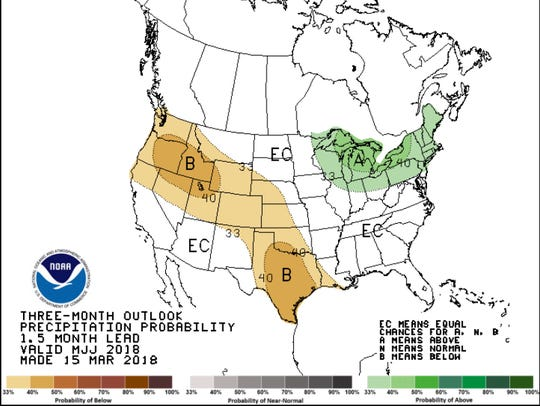 The three month precipitation outlook.