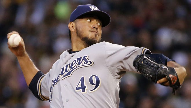 In this Sept. 19, 2014, file photo, Milwaukee Brewers starting pitcher Yovani Gallardo delivers during the first inning of a baseball game against the Pittsburgh Pirates in Pittsburgh. A person familiar with the deal told The Associated Press, Monday, Jan. 19, 2015, the Milwaukee Brewers have agreed to trade starter Gallardo to the Texas Rangers.