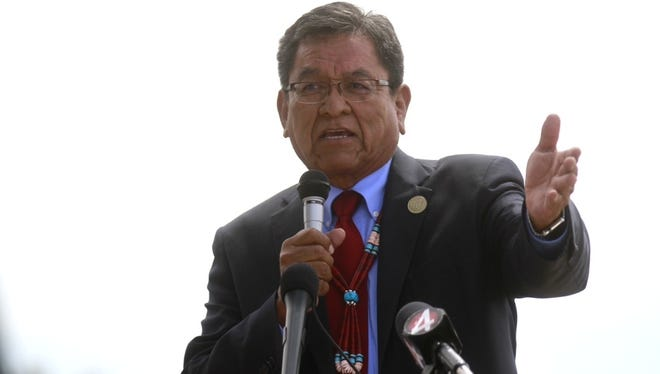 Navajo Nation President Russell Begaye speaks Tuesday, Aug. 16, 2016, at Nizhoni Park in Shiprock, N.M. Leaders of the Navajo Nation, one of the nation's largest American Indian tribes, blasted the U.S. Environmental Protection Agency as their attorneys sued Tuesday, claiming negligence in the cleanup of a massive mine waste spill that tainted rivers in three Western states.
