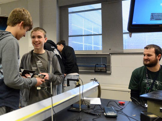 Dover Area High School Sophomores Connor Speir, left,