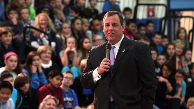 New Jersey Governor Chris Christie visits the Mendham Township Middle School to honor students for winning the 2014 Blue Ribbon Award as an 'Exemplary High Performing School.' December 17, 2014. Mendham, N.J. Bob Karp/Staff Photographer