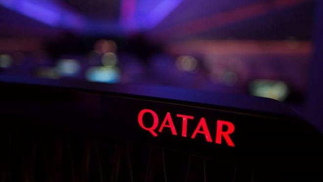 Onboard Qatar Airways' A350 delivery flight from Toulouse, France, to Doha, Qatar, on Dec. 23, 2014.