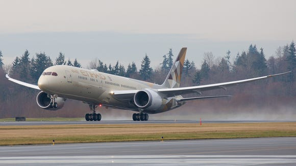 Etihad's first Boeing 787-9 Dreamliner departs Everett,