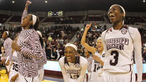 Mississippi State's Breanna Richardson (3) and Ketara Chapel (13) celebrate after their win vs. Texas A&M.