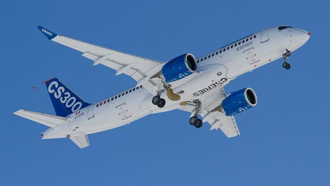 Bombardier's CS300 jetliner makes maiden flight from the company's facility in Mirabel, Quebec, facility on Feb. 27, 2015