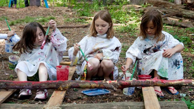 School-age girls at Blue Rock enjoy an outdoor class of painting where art and nature meld.