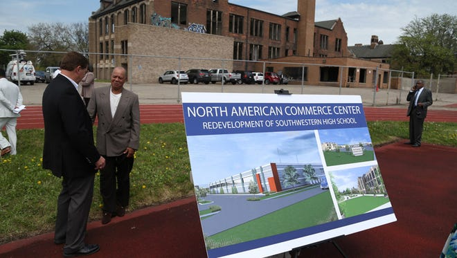This 2015 photo shows a rendering for the Sakthi manufacturing facility planned at the time for the old Southwestern High School in Detroit. On Friday, Oct. 13, 2017, ground was broken on a $7 million standalone expansion.