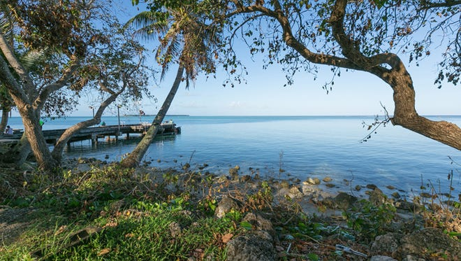 Cocos Lagoon features a pier for local residents to enjoy recreational activities.