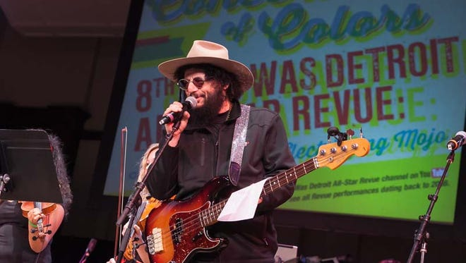 Don Was greets the crowd during the All-Star Revue's tribute to the Electrifying Mojo on the Orchestra Hall stage during the Concert of Colors on Sunday, July 12, 2015 in Detroit.