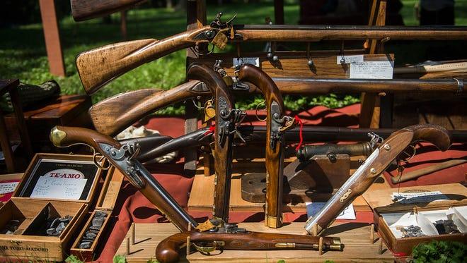 Colonial-era flintlock firearms on display near Gettysburg. Photo by Shane Dunlap/The Evening Sun