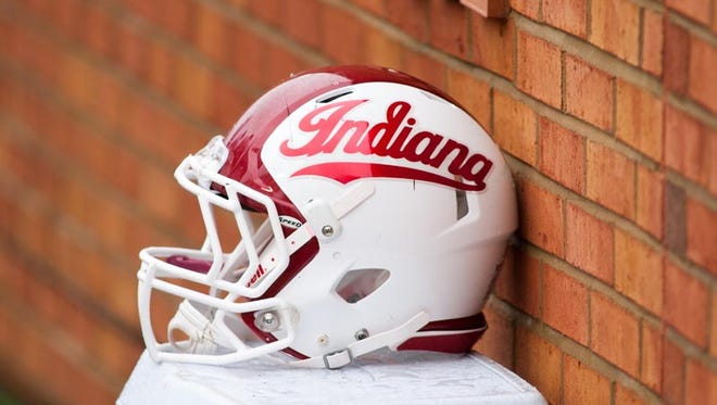 An Indiana Hoosiers helmet lays on the sidelines during the first half against the Wake Forest Demon Deacons at BB&T Field.