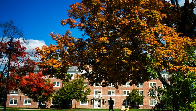 This file photo depicts colorful trees on the Gettysburg College campus on Thursday Oct. 15, 2015.