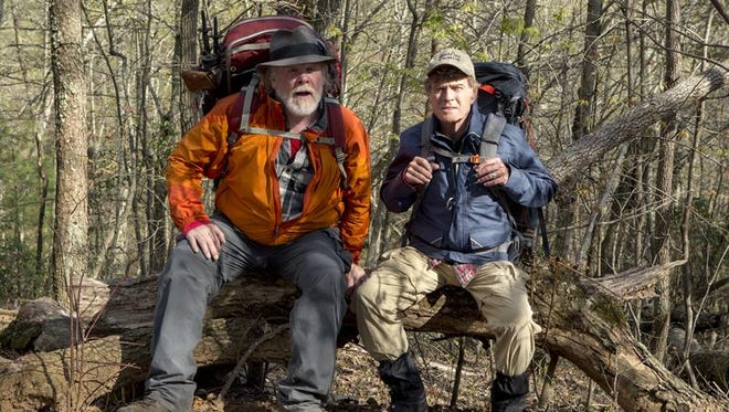 "Nick Nolte stars as Stephen Katz and Robert Redford as Bill Bryson who hike the Appalachian Trail in the movie ""A Walk in the Woods."" AT hiking activity has surged since release of the movie."