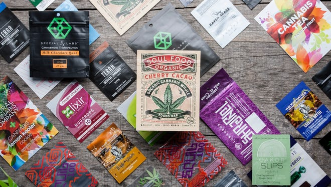 These are examples of the digitally printed packages that Wausau's Vessel Verde produces for legal marijuana retailers.