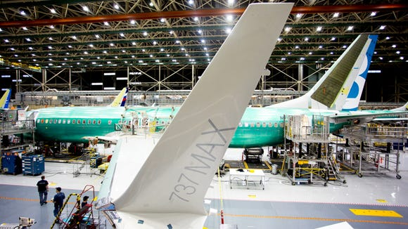 The second Boeing 737 MAX aircraft is prepared for