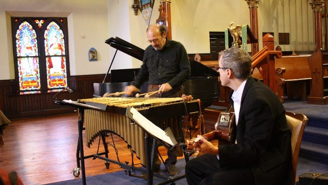 "Vibraphonist Dick Sisto and guitarist John Moulder present ""A Merton Birthday Celebration:  Memories and Music for a Spiritual Friend"" in honor of Thomas Merton's 101st birthday at St. Paul's Episcopal Church in New Albany on Sunday.  January 31, 2016"