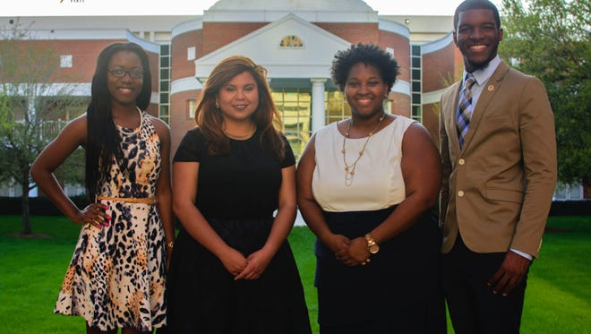 Pictured from left to right: Secretary candidate Kadale Lubin, vice presidential candidate Mavil Cordoba, presidential candidate Viesha Andrews, and treasurer candidate Arsene Frederic.