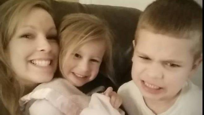 Billie Jo Hettinger (left to right) with her children Courtney Hettinger, 4, and Collin Hettinger, 5.