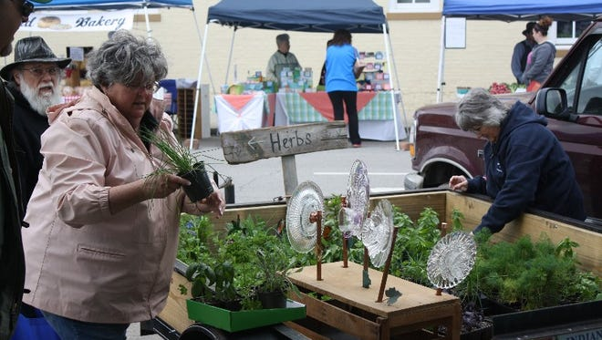 Valerie Russell sells some potted herbs as the New Albany Farmers Market at City Square opened for the summer season on Saturday, May 14, 2016.