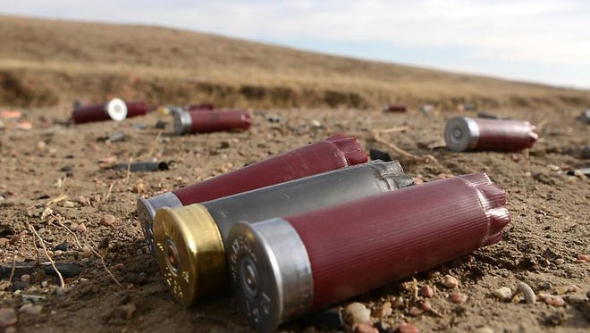 Shotgun shells on the ground at the Baker Draw Designated Shooting area.
