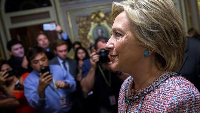 La aspirante presidencial demócrata Hillary Clinton tras una reunión del partido en el Capitolio, Washington, Estados Unidos el 14 de julio de 2016.
