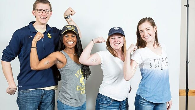 Several of the 13 Ithaca College students covering the Olympics for NBC this summer pose in a recent photoshoot. The students are (from left to right): Ryan Opila, Ciara Lucas, Riley Ludwig, and Samantha Myers.