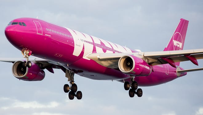 A WOW Air Airbus A330 arriving from Iceland lands at San Francisco International Airport on Oct. 23, 2016.