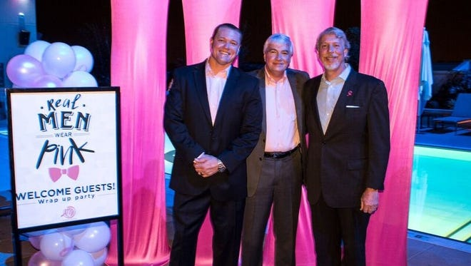 "The top three winners from the ""Real Men Wear Pink"" campaign, from left: Jake Carlton of Wind Creek Montgomery; Rob Robison (winner), Alfa insurance; and Ben Stakely of Kowa Pharmaceuticals."
