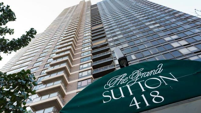 """This photo shows the Grand Sutton apartment tower Wednesday, Nov. 16, 2016, in New York. Authorities are investigating the disappearance of Joseph """"Joey"""" Comunale, who attended a party at the luxury building in Manhattan over the weekend."""