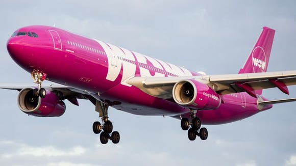A WOW Air Airbus A330 lands at San Francisco International Airport on Oct. 23, 2016.